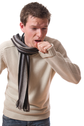 young ill man with scarf coughing isolated over white background